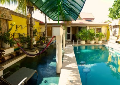 Pool area with four casitas in each corner